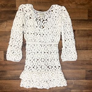 Cleobella Crochet Lace Long Sleeve Mini Dress